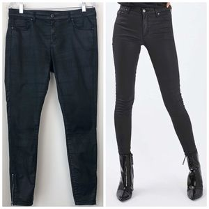 Topshop Coated Moto Jeans with Ankle Zip Sz 30